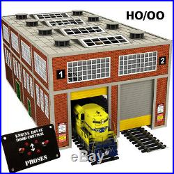 ENGINE HOUSE FOR DIESEL ENGINES WithMOTORIZED WORKING DOORS HO SCALE (see video)
