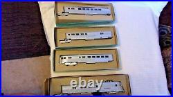 HO Scale Vintage Burlington Pioneer Zephyr Locomotive, 3 Passenger Cars Rare Set