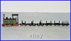 HOn30 Scale 0-4-0 Steam Locomotive with 5 Log Cars, 1 Dump Car Can run N Track