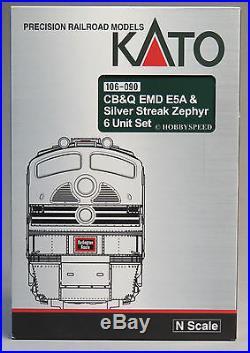 KATO N SCALE CB&Q EMD E5A SILVER STREAK ZEPHYR Engine Car Set diesel 106-090 NEW