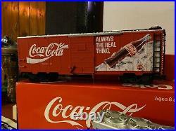 LGB Trains Germany G Scale Red Coca-Cola Super Set Diesel Engine 2 Box Cars Used